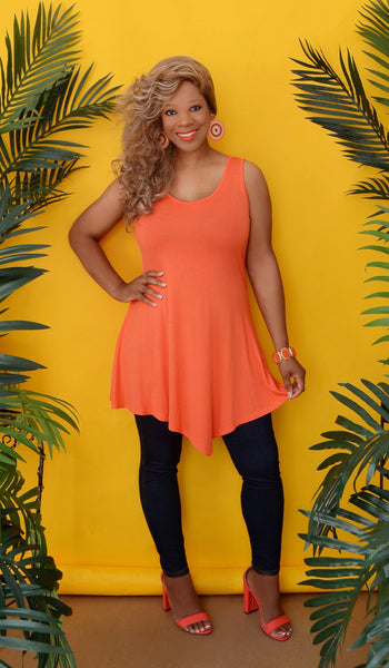Women's Orange Flowy Sleeveless Tunic Top -Boutique Tops