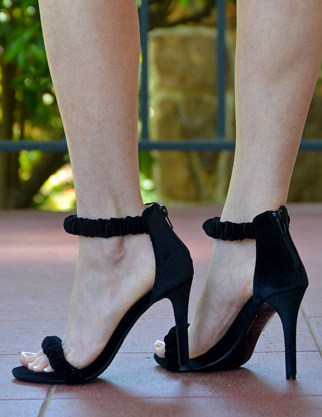 Black Velvet Ankle Strap Sandal With Stiletto Heel