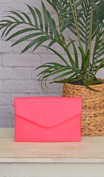 Women's Neon Hot Pink Envelope Clutch