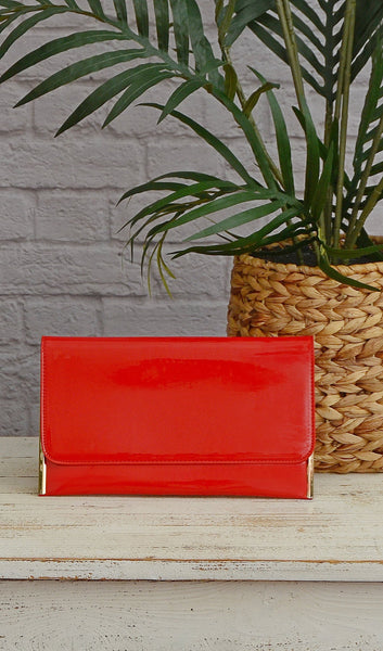 Red Shiny Gloss Cross Body Clutch