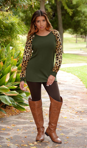 Juniors Green Sweater Top With Leopard Sleeves-Boutique Tops