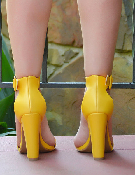 Women's Mustard Yellow Open Toe Block Heels