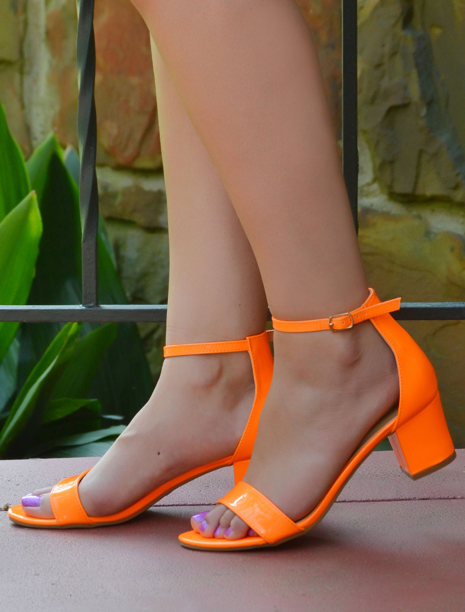 Women's Neon Orange Low Block Heels