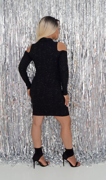 "Women's Black/Gray Bodycon Dress ""Cold/ Open Shoulder"""