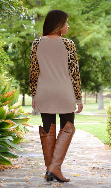 Juniors Beige Sweater Top With Leopard Sleeves-Boutique Tops