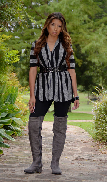 Women's Striped Belted Cardigan-Black/Gray