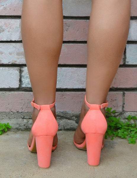Women's Coral Open Toe Suede Block Heels