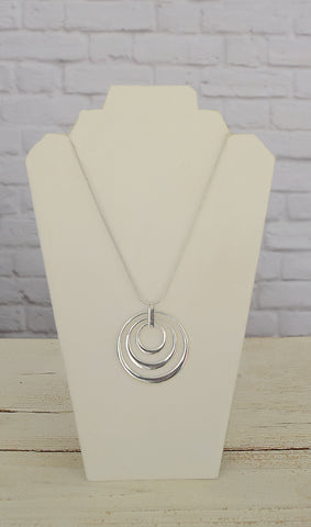 Women's Silver Triple Circle Pendant Statement Necklace