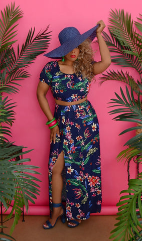 Women's Blue Tropical Of Floral Two Piece Set & Outfit