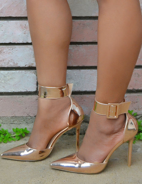 Women's Rose Gold Pointy Toe Ankle Strap Heels