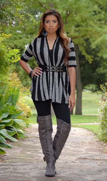 Juniors Black/Gray Striped Belted Cardigan