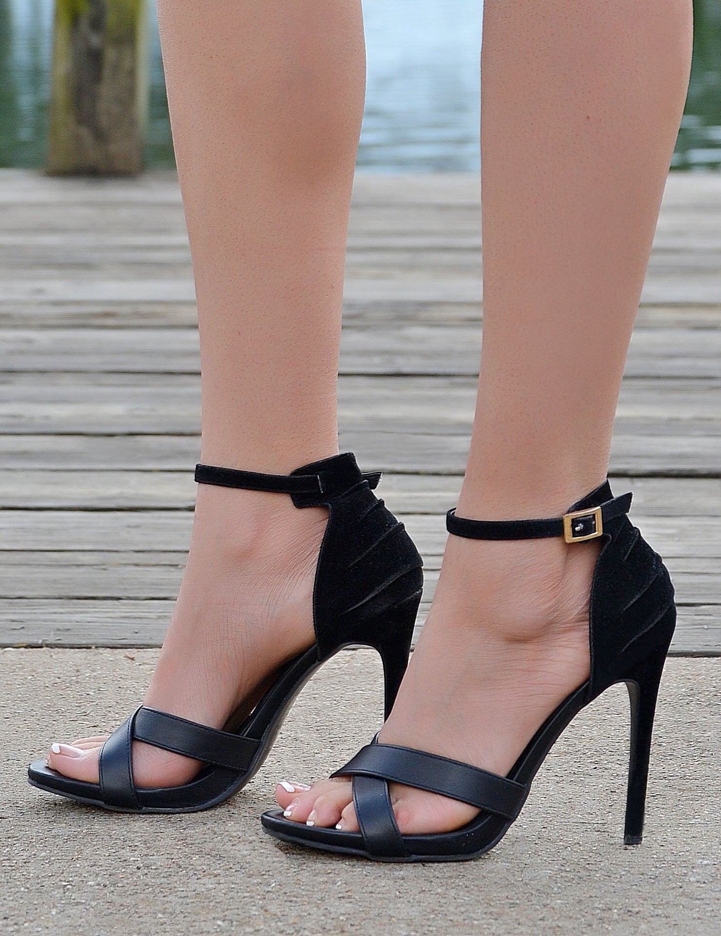 Women's Black Ankle Strap Open Toe Stiletto Heels