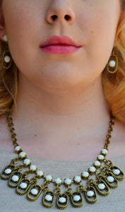 Women's 3 Piece Earrings & Statement Necklace Set - Brass/Ivory