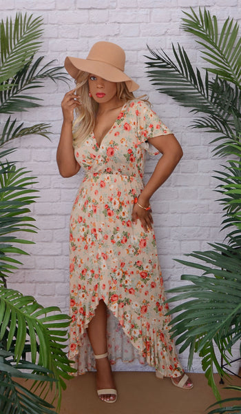 Women's Floral Ruffle High Low Dress-Beige - Dallas Boutique