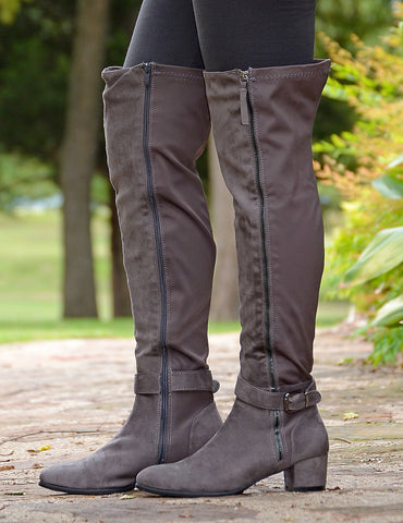Women's Suede Over The Knee Boots-Gray