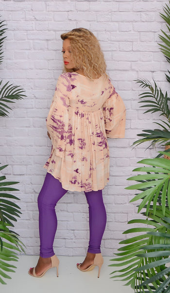 Women's Peach/Purple Tie Dye Bell Sleeve Tunic