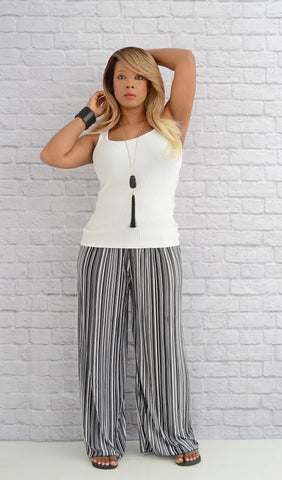 Women's Black/White Striped Wide Leg Palazzo Pants