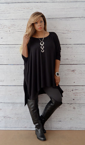 Women's Boutique Basic Flowy Oversized Tunic Top-Black