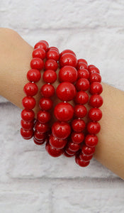 Red 5 Piece Stretchy Beaded Bracelet Set