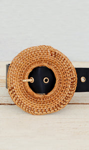 Women's Black Wicker Fashion Belt