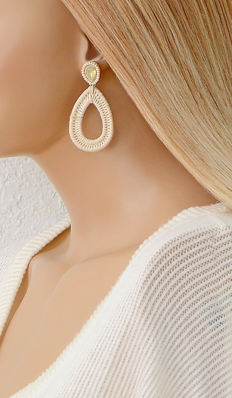 Women's Ivory Wicker Teardrop Earrings
