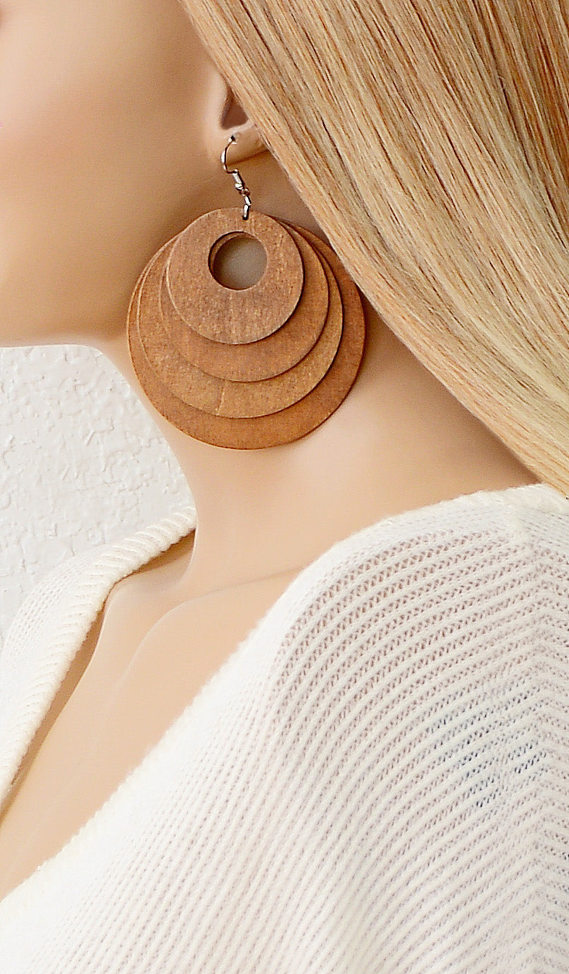 Women's Honey Brown Wooden Circle Earrings
