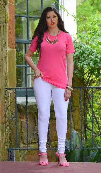 Boutique Tops - Women's Junior Fit Basic T Shirt - Pink/Fuschia