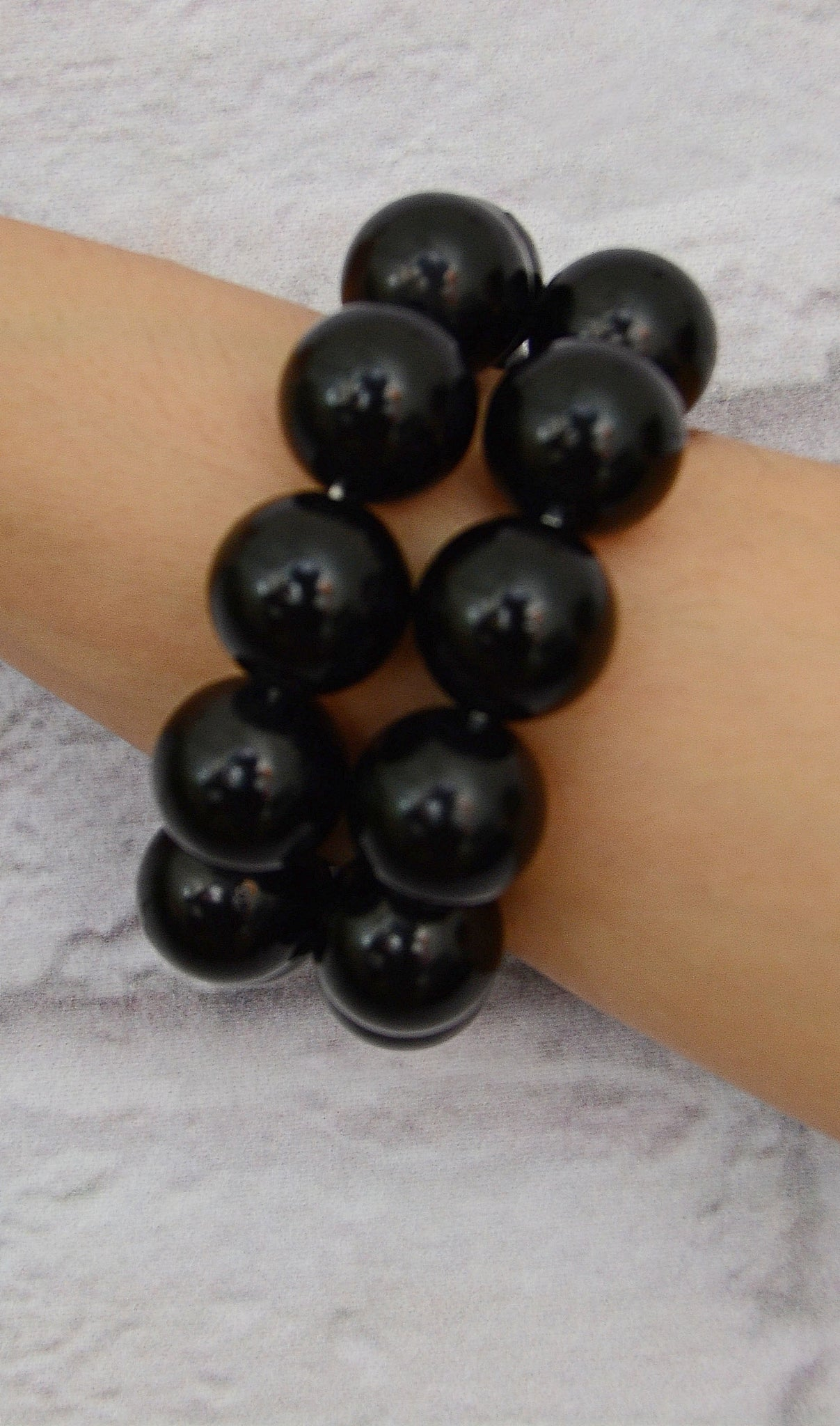 Black 2 Piece Chunky  Beaded Bracelet Set