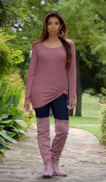 Juniors Button Back Top With Elbow Patches - Mauve Pink