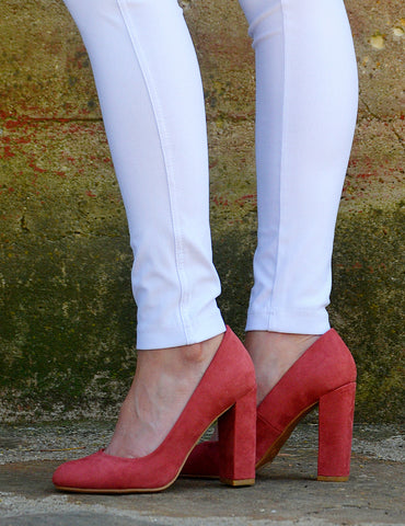 Casual Chunky Heel Pumps-Rose Pink