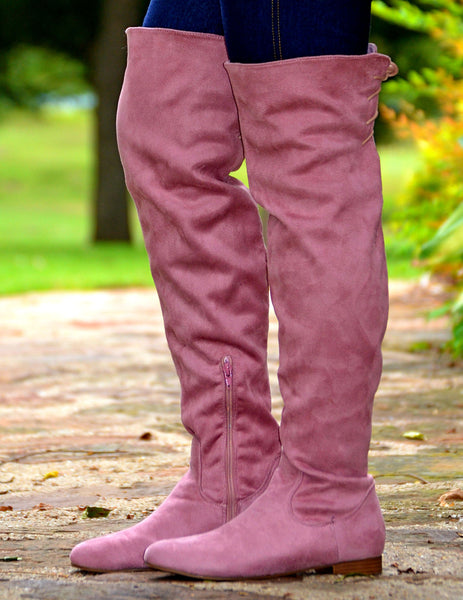 Women's Suede Knee High Boots With Back Lace Up-Mauve Pink