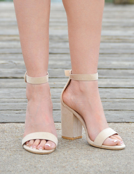 Women's Open Toe Platform Block Chunky Heels - Beige - Boutique Shoes