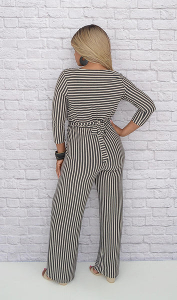 Juniors V-Neck Tie Waist/Wide Leg Striped Jumpsuit - Beige/Black
