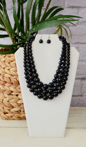 Women's Black Triple Beaded Necklace Set