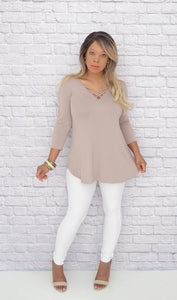Boutique Tops - Women's Misses Fit Basic Crisscross Tunic-Beige