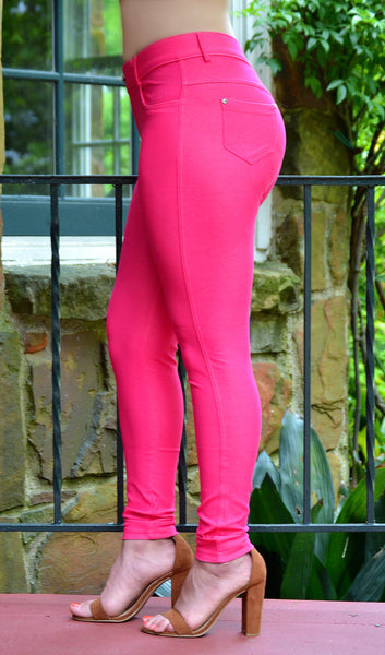 Women's Hot Pink/Fuchsia 5 Pocket Stretch Skinny Jeggings