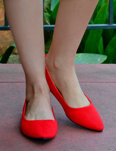 Women's Classic Pointy Toe Faux Suede Flats - Red - Cheap Shoes