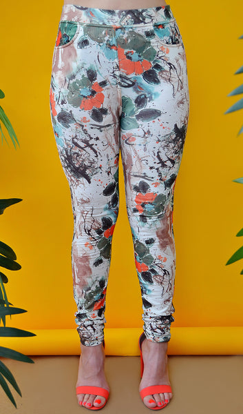 Women's Floral Tropical/Hawaiian Skinny Pants-Ivory