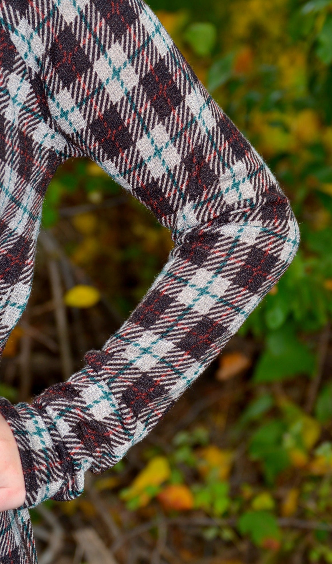 Plaid Of Fall Cowl Neck Sweater-Brown