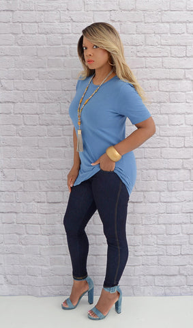 Women's Scoop Neck Relax Fit Basic Tee Shirt - Sky Blue