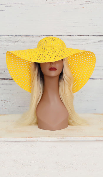 Women's Yellow Summer Floppy Hat