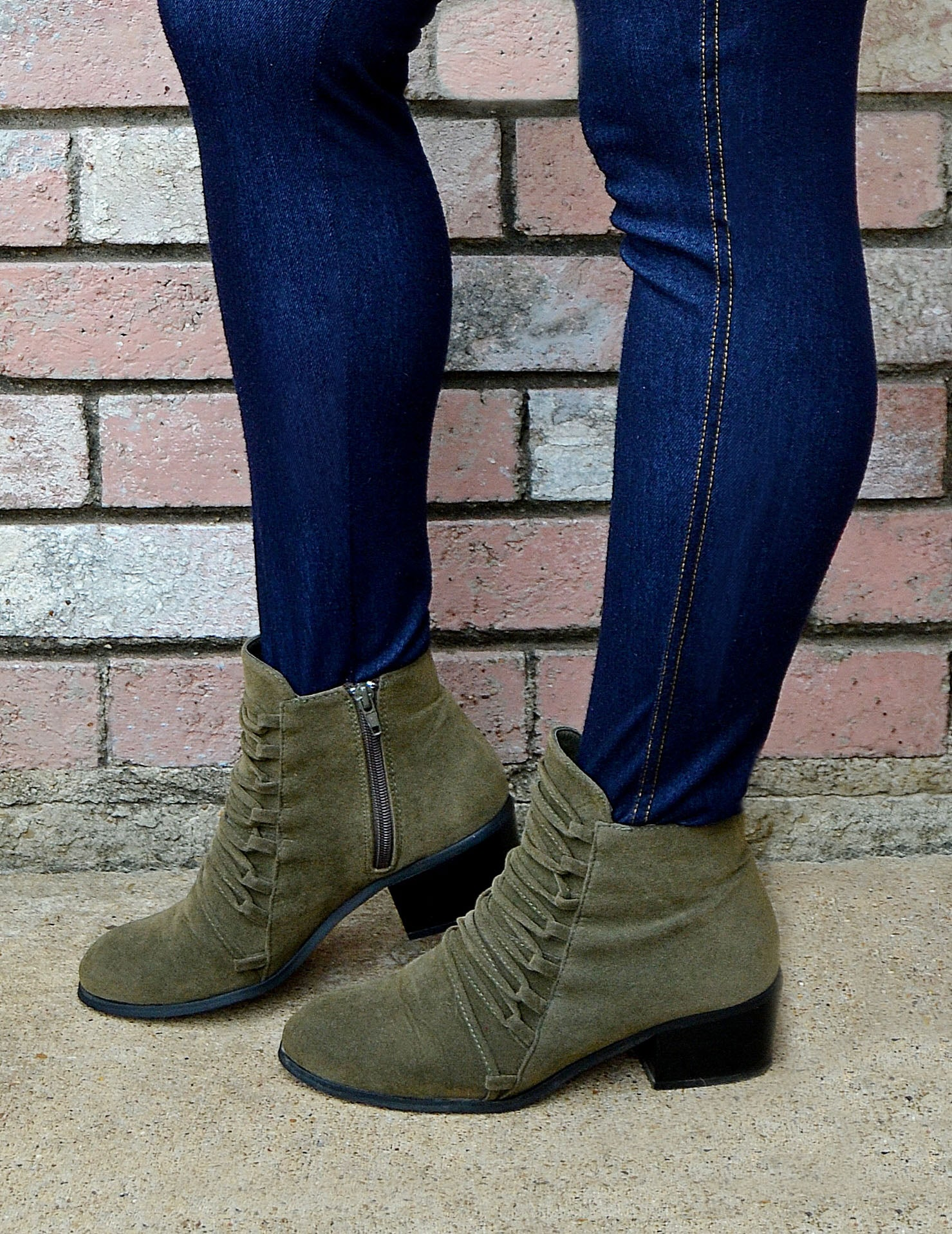 Women's Olive Green Suede Lace-Up Ankle Booties