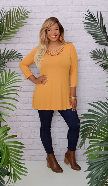 Women's Yellow Cage Criss Cross Tunic Top