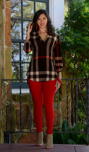 Women's Multi-Color Plaid 3/4 Sleeve Tunic-Brown