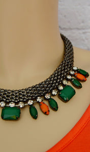 Fashion Gemstones Statement Necklace Set-Green