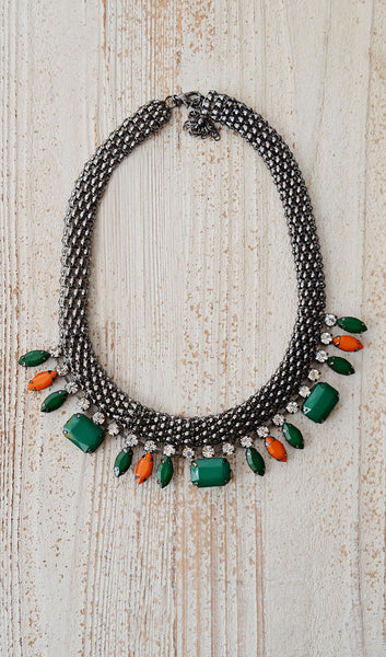 Acrylic Stone Statement Necklace Set-Green
