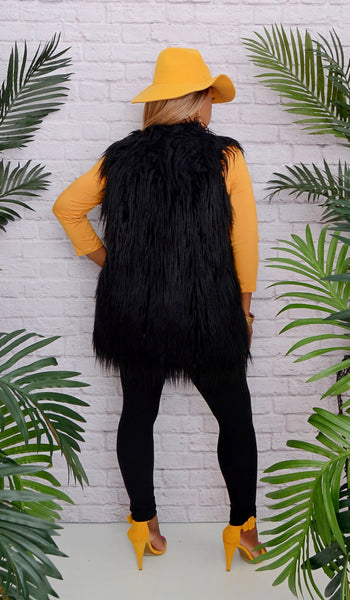 Copy of Women's Black Shaggy Vest - Fits Sizes 0-12