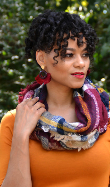 Women's Maroon/Multi-Color Plaid Infinity Blanket Scarf