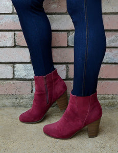 Women's Maroon Suede Ankle Booties/Boots