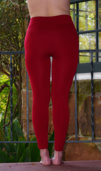 Junior/Women's Cheap Quality Red Fleece Leggings